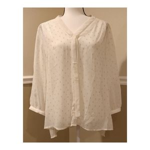 Elle Sheer Gold Cream Blouse Large